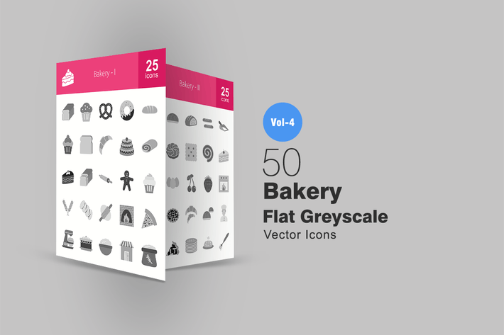 Thumbnail for 50 Bakery Greyscale Icons