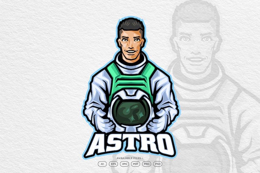 Astronaut Rocket Space Logo