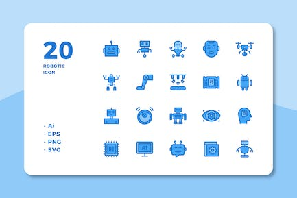 20 Robotic Icons (Lineal Color)