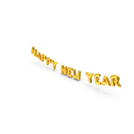 Foil Balloon Words Happy New Year Gold