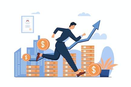 Revenue Growth Vector Illustration Flat