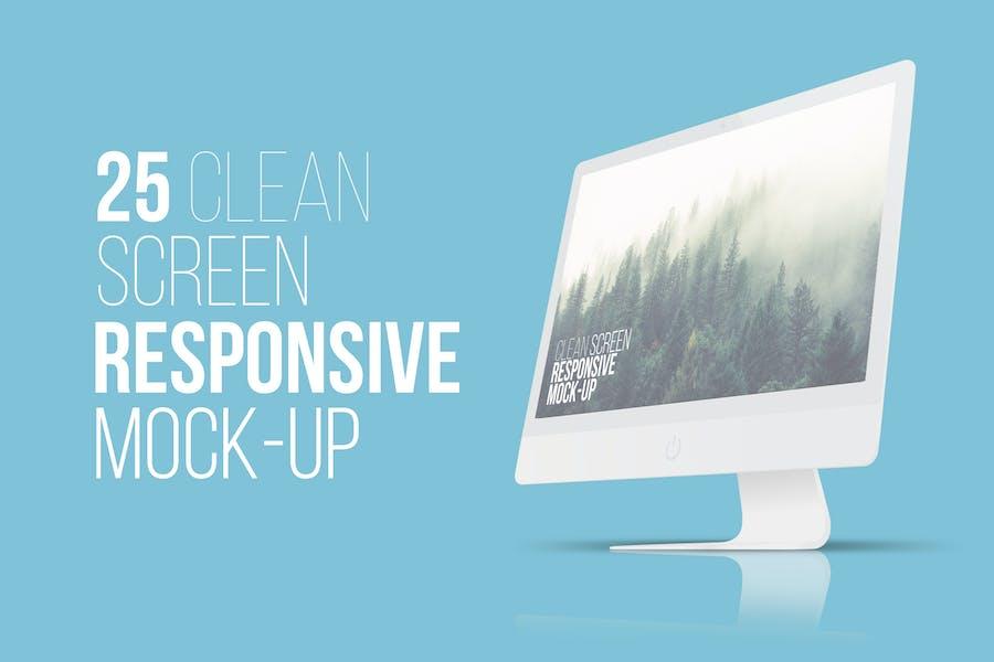 25 Clean Screen Responsive Mockups