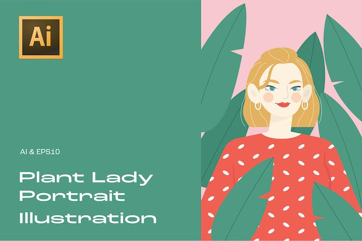 Thumbnail for Plant Lady Portrait Illustration 2