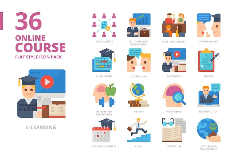 Online-Kurs-flaches Entwurfs-Icon