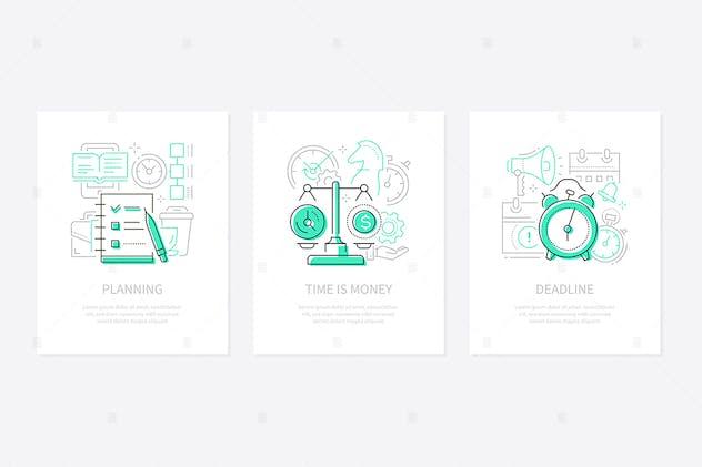 Management - line design style banners set
