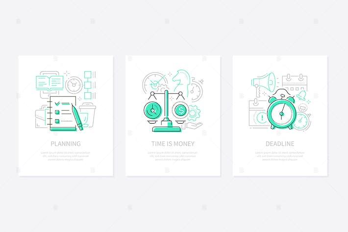 Thumbnail for Management - Linie Design Stil Banner Set