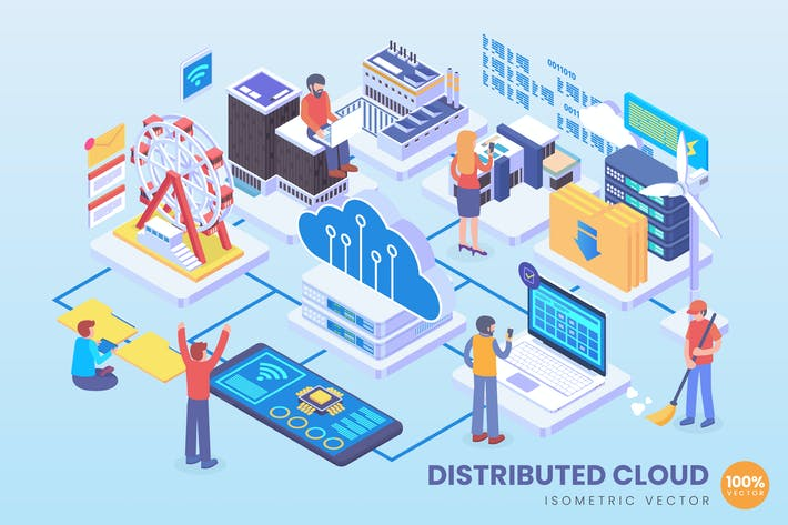 Thumbnail for Isometric Distributed Cloud Technology Vector