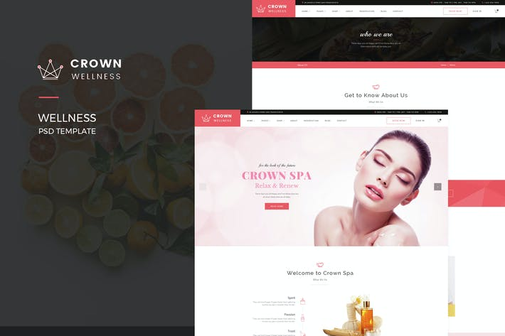 Cover Image For Crown Wellness : Spa PSD Template