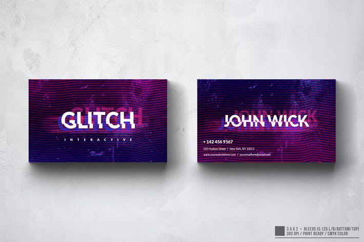 Thumbnail for Glitch Agency Business Card Design