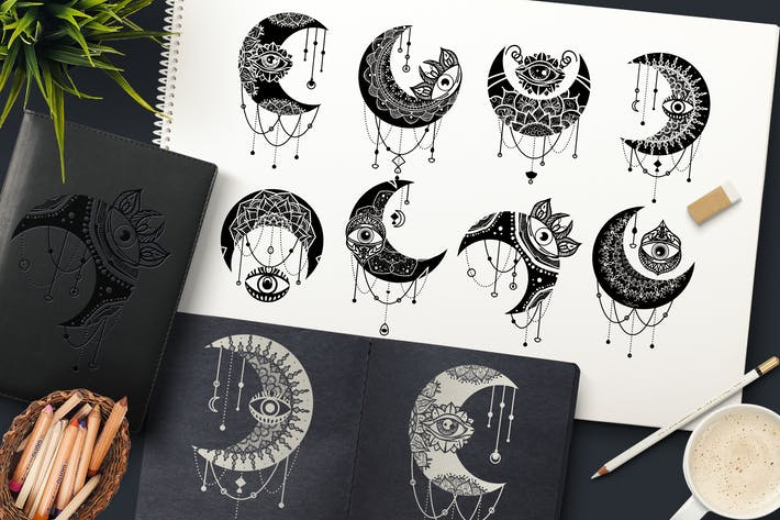 Thumbnail for Crescent Moon Eyes Clipart Set