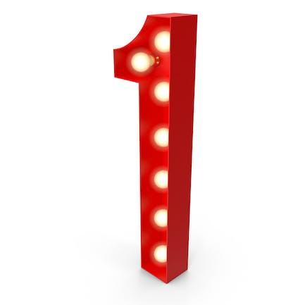 Light Bulb Glowing Alphabet Number 1