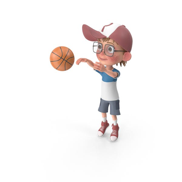 Cartoon Boy Harry Playing Basketball