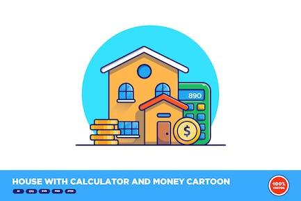 House With Calculator And Money Cartoon