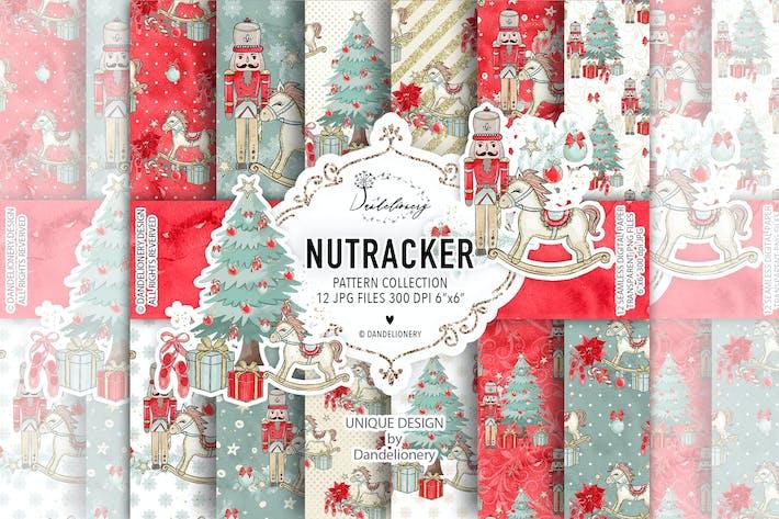 Thumbnail for Christmas Nutcracker digital paper pack