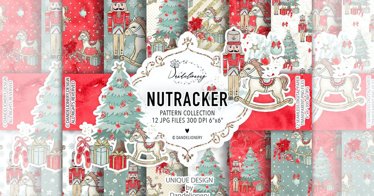 Download Christmas Nutcracker digital paper pack by designloverstudio