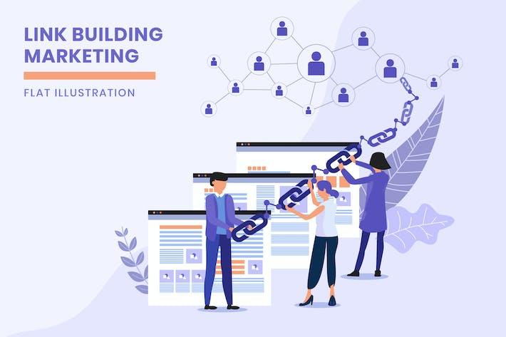 Thumbnail for Link Building Marketing - Flat Illustration