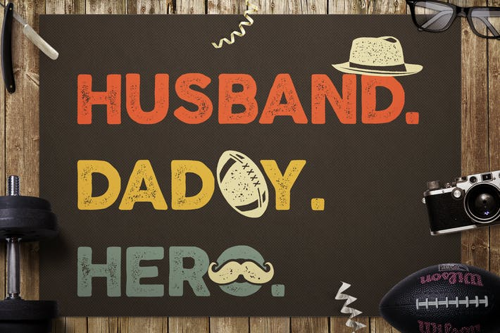 Thumbnail for Husband Daddy Hero, Vatertag, RetroLogo