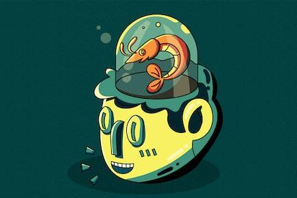 Shrimp Brained - Vector Illustration