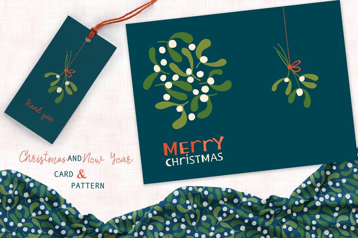 Thumbnail for Mistletoe Greeting Card and Pattern