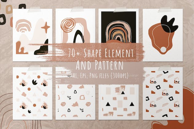 Abstract Element Shape Pattern Seamless