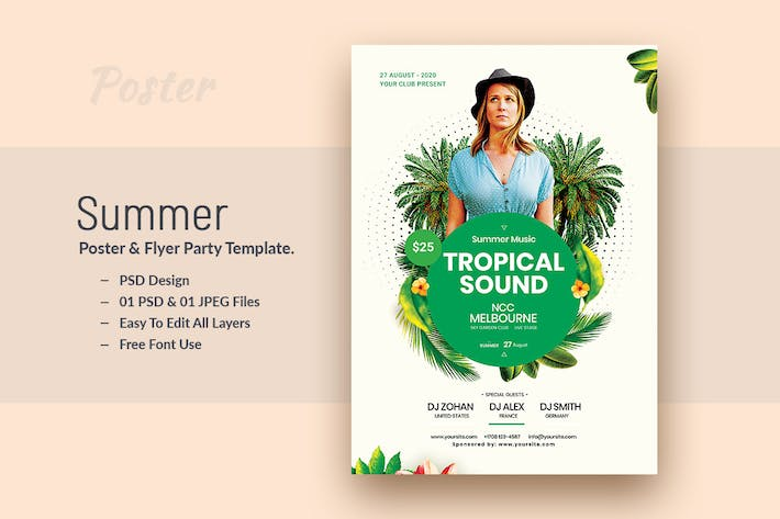 Thumbnail for Summer and Tropical Sound Party Flyer & Poster