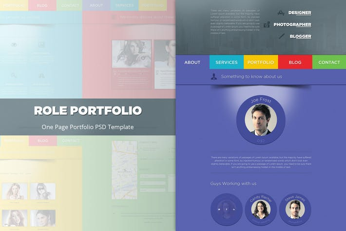 Thumbnail for Role - One Page Portfolio PSD Template