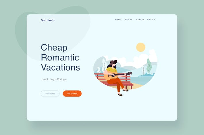Thumbnail for Travel Scenery Landing Page Header Illustration