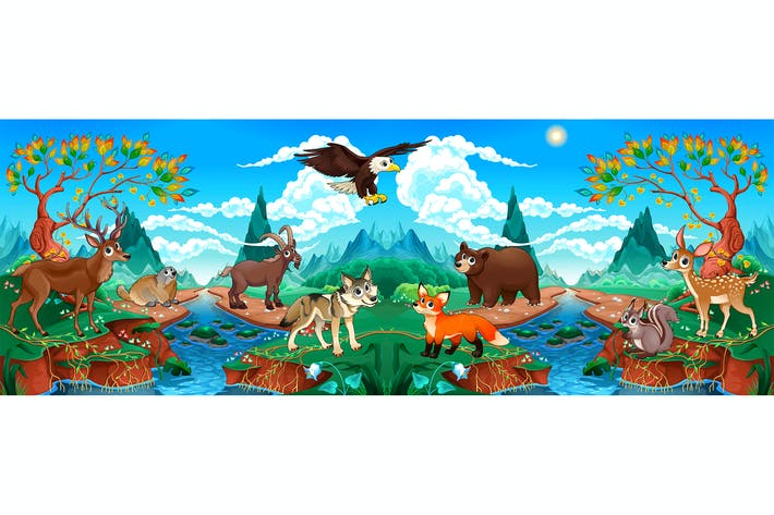Thumbnail for Wood Animals in a Mountain Landscape with River