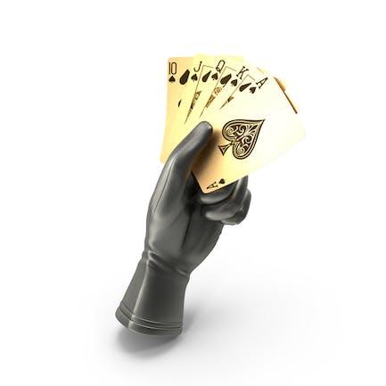 Guante que sostiene un color real dorado