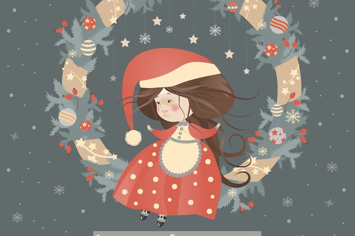 Thumbnail for Cute lady christmas in wreath
