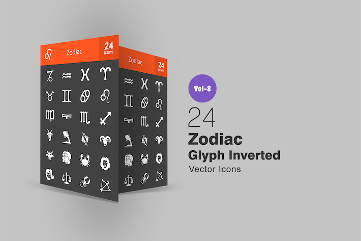 Thumbnail for 24 Zodiac Glyph Inverted Icons
