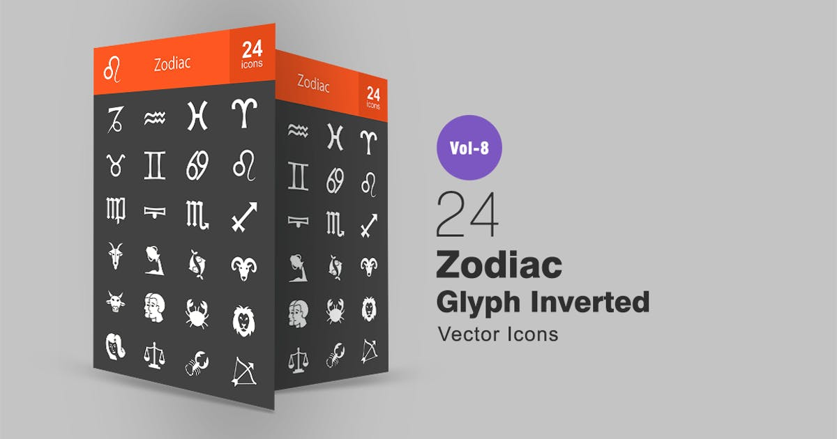 Download 24 Zodiac Glyph Inverted Icons by IconBunny
