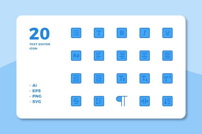 Thumbnail for 20 Text Editor Icons (Lineal Color)