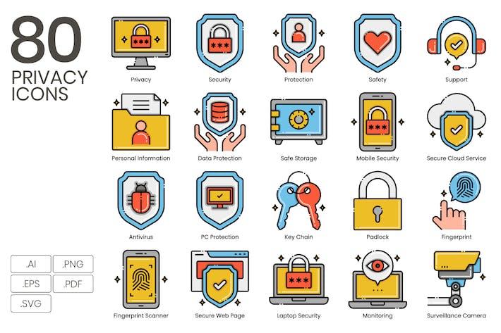 80 Privacy  Icons - Aesthetics Series