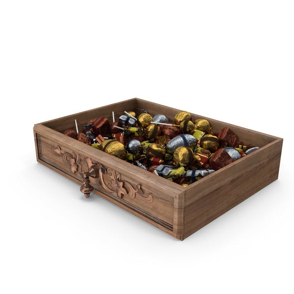 Drawer with Mixed Fancy Wrapped Candy