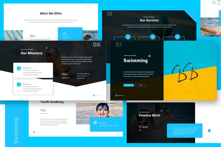 Thumbnail for Swimming Keynote Presentation Template