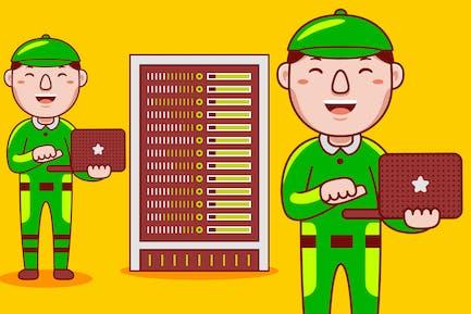 Netzwerk-Ingenieur Beruf Cartoon Vektor