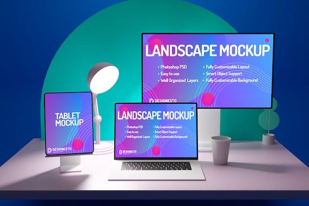 Macbook Monitor And iPad Cartoon – Mockup Template