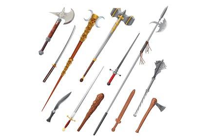 Set mit verschiedenen Waffen