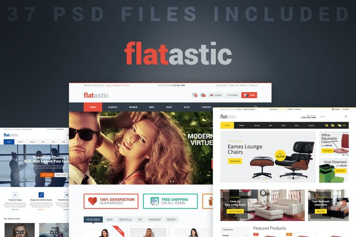 Thumbnail for Flatastic - Versatile PSD Template