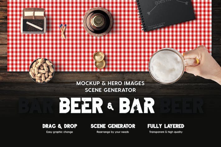 Thumbnail for Beer & Bar Mockup & Hero Images Scene Generator