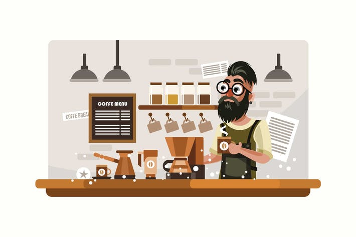 Cover Image For Hipster Barista Vector Illustration