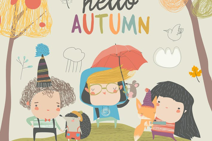 Thumbnail for Cute children meeting autumn with little animals.