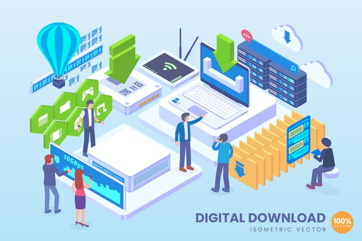 Thumbnail for Isometric Digital Download Vector Concept