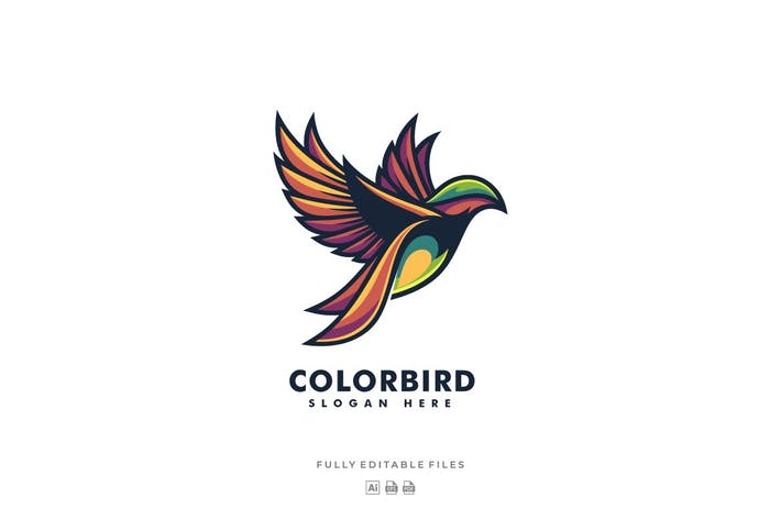 Thumbnail for Fly Bird Color Mascot Logo