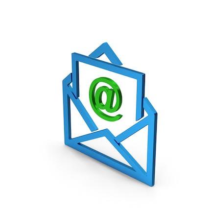 Email Envelope Blue Green Metallic