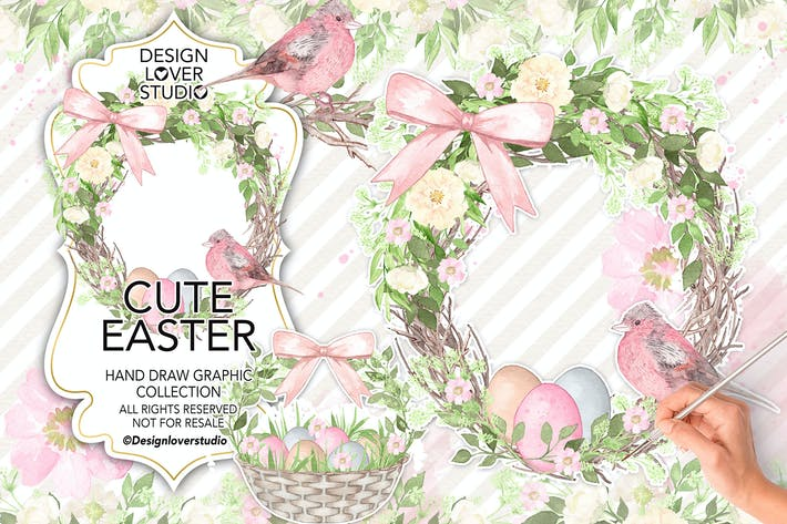 Cover Image For Watercolor Cute Easter design
