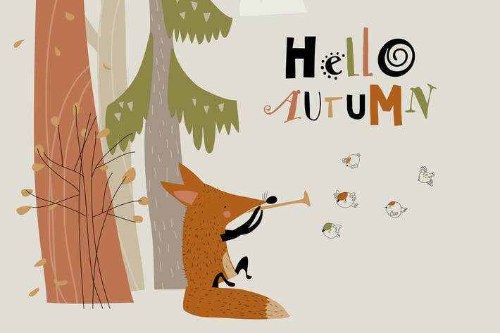 Thumbnail for Cute fox playing the pipe for birds in autumn