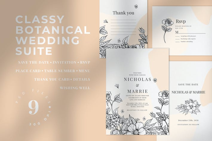 Cover Image For Classy Botanical Wedding Suite