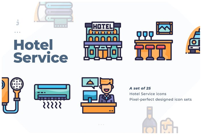 Thumbnail for 25 Hotel Service Icon set